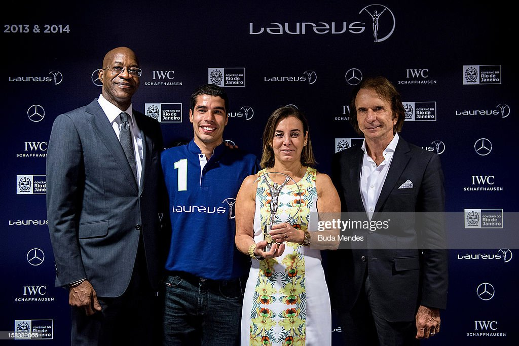 <a gi-track='captionPersonalityLinkClicked' href=/galleries/search?phrase=Edwin+Moses+-+Atleta&family=editorial&specificpeople=206882 ng-click='$event.stopPropagation()'>Edwin Moses</a>, Brazilian Paralympic swimmer Daniel Dias, Sports Secretary of Rio de Janeiro Marcia Lins and Emerson Fittipaldi during a press conference to announce the Nominees for the 2012 Laureus World Sports Awards at Windsor Atlantica Hotel on December 13, 2012 in Rio De Janeiro, Brazil. The Laureus World Sports Awards is recognised as the premier honours event in the international sporting calendar as stars of the sporting world come together to salute the finest sportsmen and sportswomen of the year.