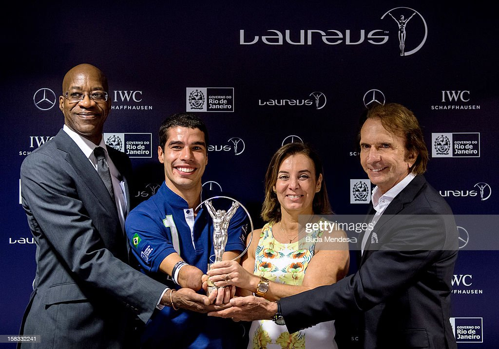 Edwin Moses, Brazilian Paralympic swimmer Daniel Dias, Sports Secretary of Rio de Janeiro Marcia Lins and Emerson Fittipaldi during a press conference to announce the Nominees for the 2012 Laureus World Sports Awards at Windsor Atlantica Hotel on December 13, 2012 in Rio De Janeiro, Brazil. The Laureus World Sports Awards is recognised as the premier honours event in the international sporting calendar as stars of the sporting world come together to salute the finest sportsmen and sportswomen of the year.