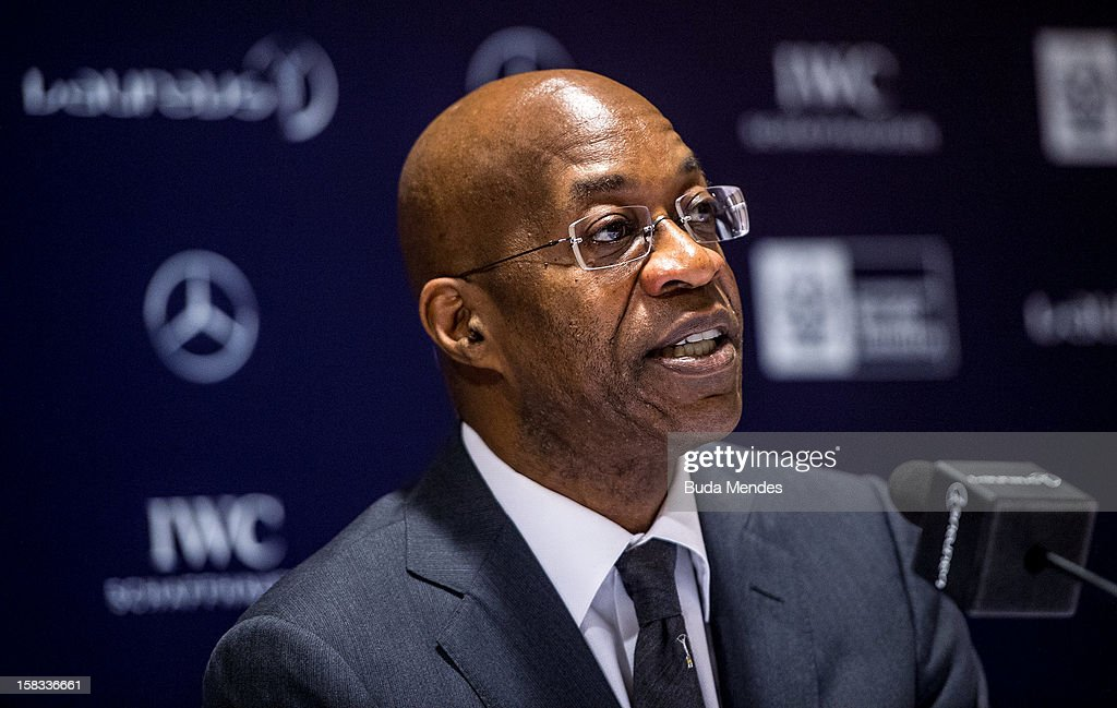<a gi-track='captionPersonalityLinkClicked' href=/galleries/search?phrase=Edwin+Moses+-+Track+and+Field+Athlete&family=editorial&specificpeople=206882 ng-click='$event.stopPropagation()'>Edwin Moses</a> during a press conference to announce the Nominees for the 2012 Laureus World Sports Awards at Windsor Atlantica Hotel on December 13, 2012 in Rio De Janeiro, Brazil. The Laureus World Sports Awards is recognised as the premier honours event in the international sporting calendar as stars of the sporting world come together to salute the finest sportsmen and sportswomen of the year.