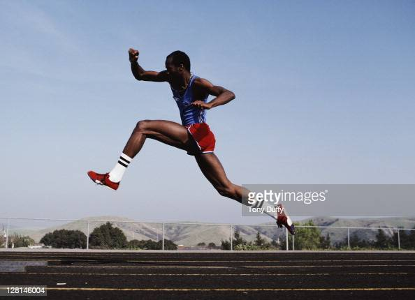 Edwin Moses of the United States during training for the Men's 400 metres hurdles on 1st April 1981at the Pepperdine University Stadium in Malibu...