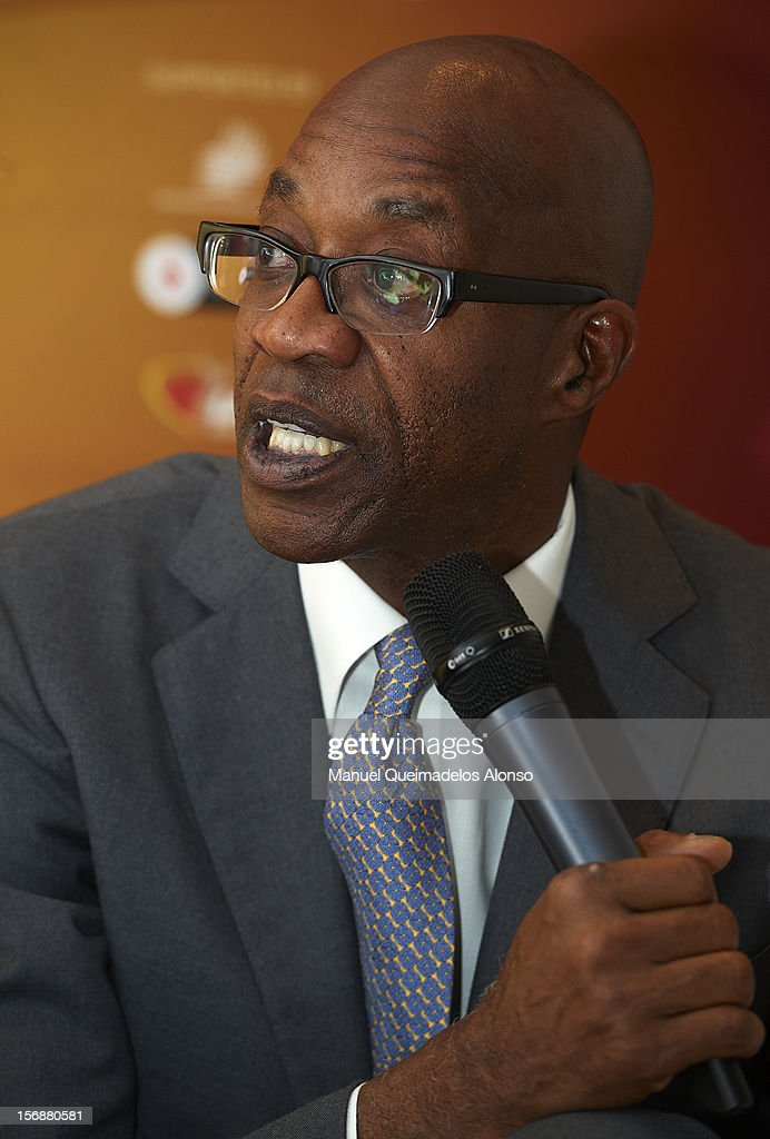 Edwin Moses of the United States in press conference during the preview day of the IAAF athlete of the year award at the IAAF Centenary Gala on November 23, 2012 in Barcelona, Spain.