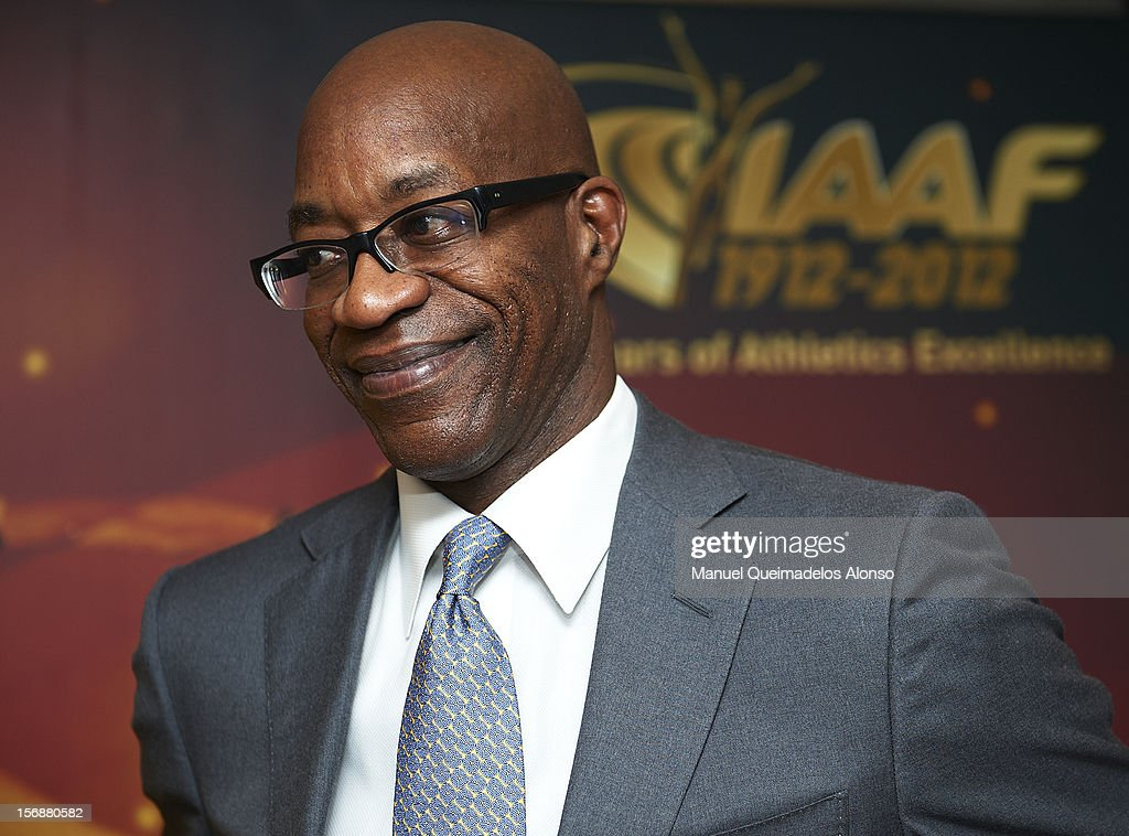 <a gi-track='captionPersonalityLinkClicked' href=/galleries/search?phrase=Edwin+Moses+-+Track+And+Field+Athlete&family=editorial&specificpeople=206882 ng-click='$event.stopPropagation()'>Edwin Moses</a> of the United States in press conference during the preview day of the IAAF athlete of the year award at the IAAF Centenary Gala on November 23, 2012 in Barcelona, Spain.