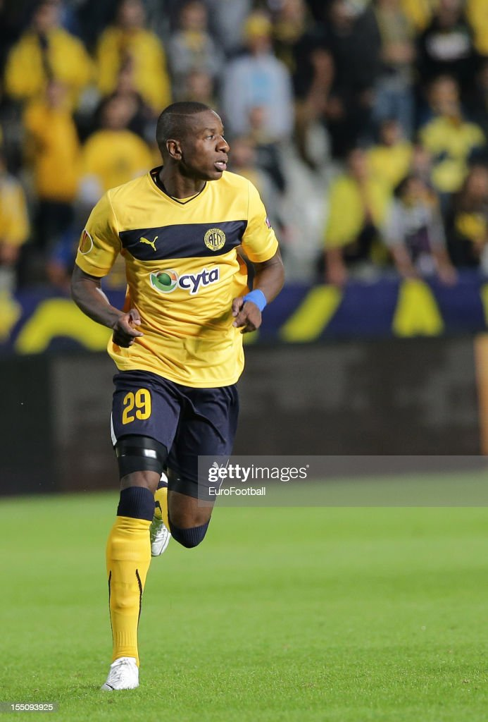 Edwin Ouon of AEL Limassol FC in action during the UEFA Europa League group stage match between AEL Limassol FC and Fenerbahce SK held on October 25, 2012 at the GSP Stadium, in Nicosia, Cyprus.