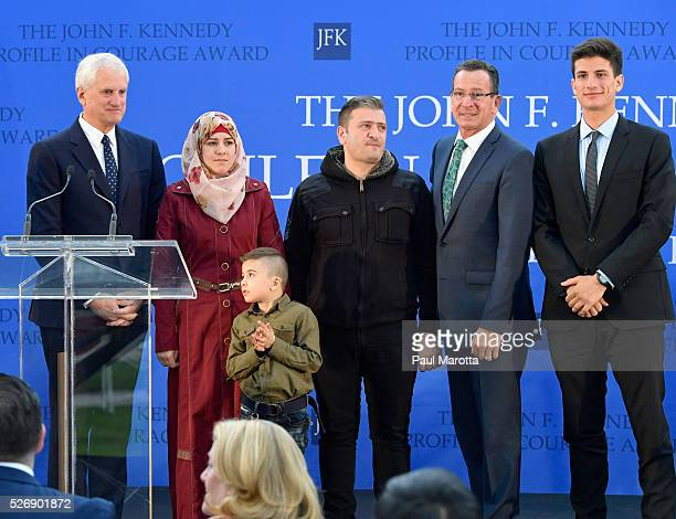 Edwin Schlossberg Fatema Ayham Abdullah Connecticut Governor Dannel Malloy and Jack Schlossberg at the 2016 John F Kennedy Profile in Courage Award...