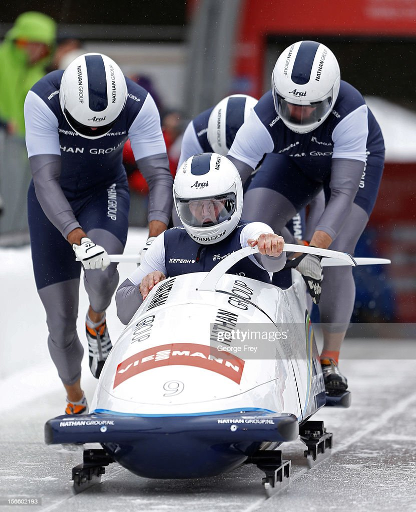 Edwin Van Calker drives Netherlands 1 sled in the FIBT Men's Four Man Bobsled World Cup Heat 1 at Utah Olympic Park on November 17, 2012 in Park City, Utah.