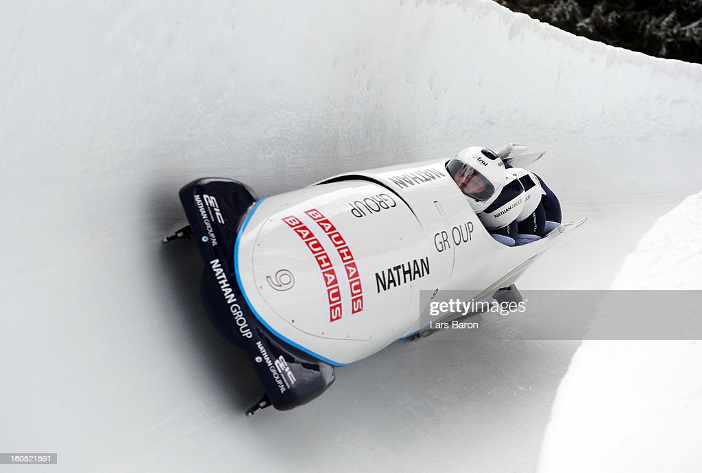 Edwin van Calker, Yannick Greiner, Sybren Jansma and Jeroen Piak of Netherlands compete during the Four Men Bobsleigh heat one of the IBSF Bob & Skeleton World Championship at Olympia Bob Run on February 2, 2013 in St Moritz, Switzerland.