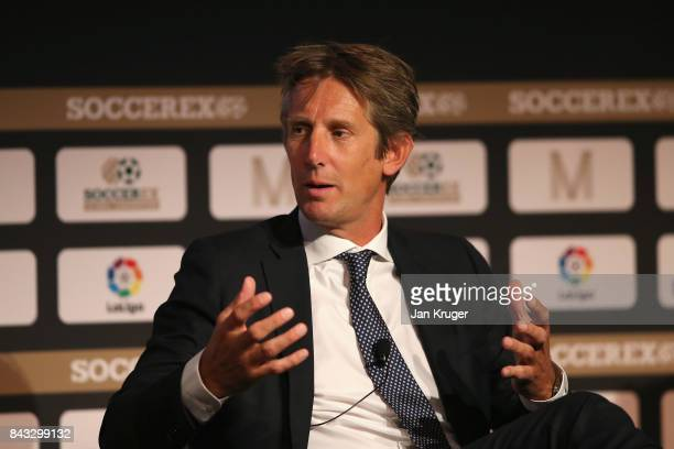 Edwin van der Sar AFC Ajax CEO talks during day 3 of the Soccerex Global Convention at Manchester Central Convention Complex on September 6 2017 in...