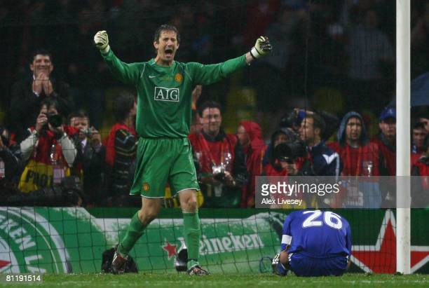 Edwin Van der Sar of Manchester United celebrates after John Terry of Chelsea misses a penalty during the UEFA Champions League Final match between...