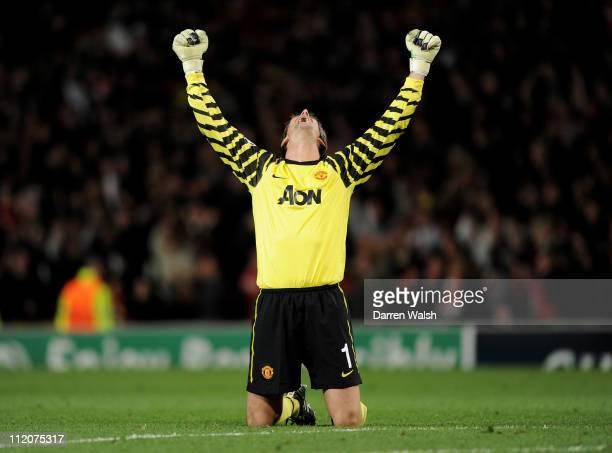 Edwin van der Sar of Manchester United celebrates his team's second goal during the UEFA Champions League Quarter Final second leg match between...