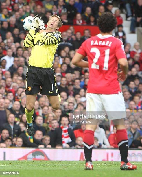 Edwin van der Sar of Manchester United fumbles the ball leading to a goal for West Bromwich Albion during the Barclays Premier League match between...