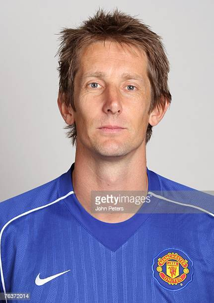 Edwin van der Sar of Manchester United poses during the club's annual preseason photocall at Carrington Training Ground on August 17 2007 in...