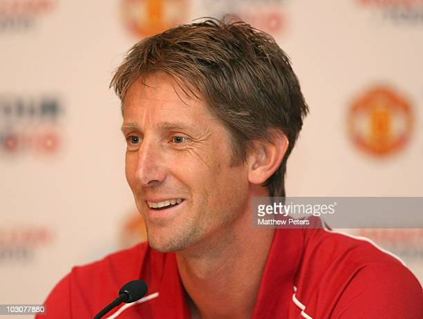 Edwin van der Sar of Manchester United speaks during a press conference ahead of theur match against Kansas City Wizards as part of their preseason...