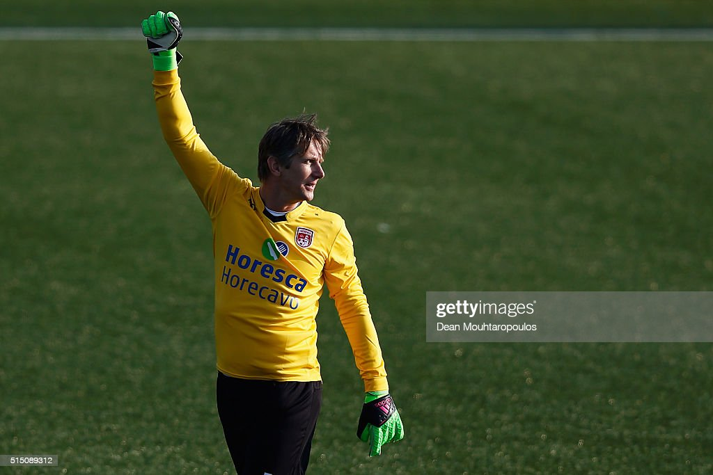 Edwin van der Sar of Noordwijk celebrates his team scoring a goal in the final minutes during the Hoofdklasse B match between VV Noordwijk and Jodan Boys held at Sportpark Duinwetering on March 12, 2016 in Noordwijk aan Zee, Netherlands.