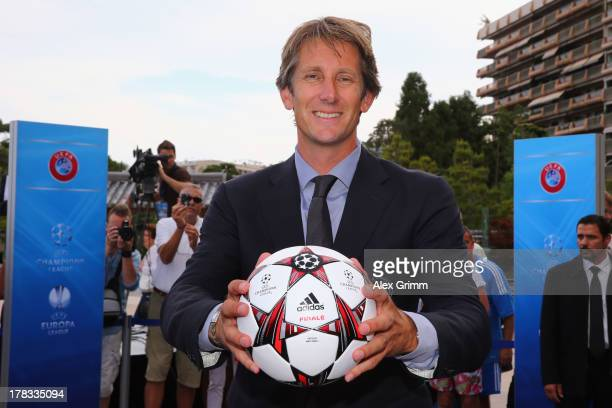 Edwin van der Sar poses outside the Grimaldi Forum with the adidas official match ball 'Finale 13' prior to the Champions League Draw on August 29...