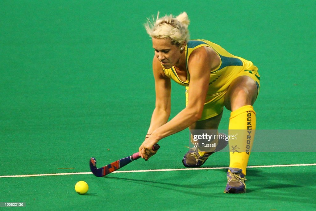 Edwina Bone of the Hockyroos hits the ball during day one of the 2012 International Super Series at Perth Hockey Stadium on November 22, 2012 in Perth, Australia.