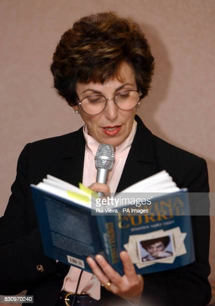 Edwina Currie reads from her book during a talk to Nottingham Writers Club in Trinity Square Nottingham