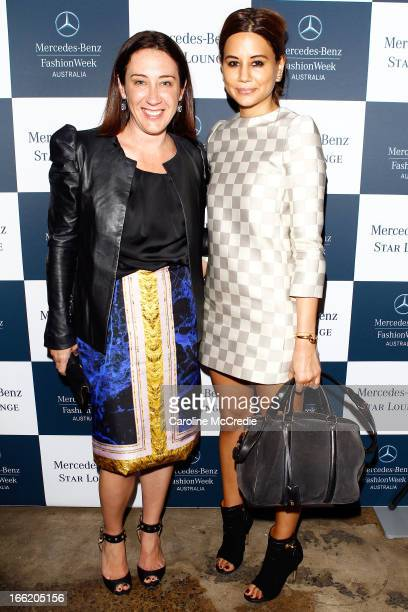 Edwina McCann and Christine Centenera from Vogue Magazine attend the Star Lounge during MercedesBenz Fashion Week Australia Spring/Summer 2013/14 at...