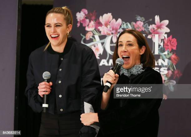 Edwina McCann and Jesinta Franklin speak on stage during Vogue American Express Fashion's Night Out 2017 on September 7 2017 in Sydney Australia