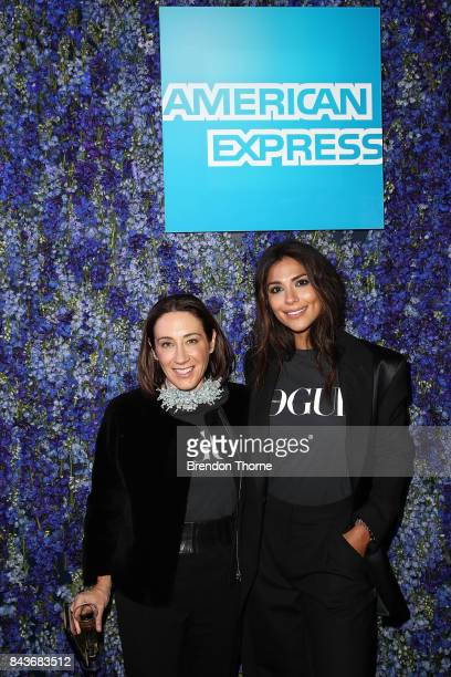Edwina McCann and Pia Miller pose at the AMEX lounge during Vogue American Express Fashion's Night Out 2017 on September 7 2017 in Sydney Australia