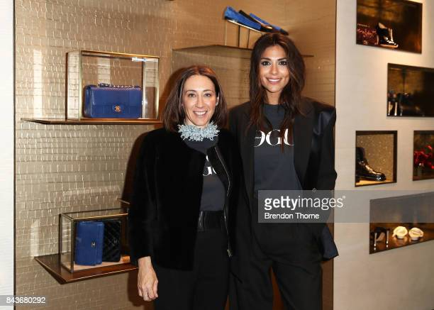 Edwina McCann and Pia Miller pose at the Chanel boutique store during Vogue American Express Fashion's Night Out 2017 on September 7 2017 in Sydney...