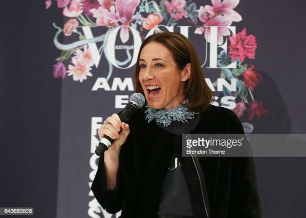 Edwina McCann speaks on stage during Vogue American Express Fashion's Night Out 2017 on September 7 2017 in Sydney Australia