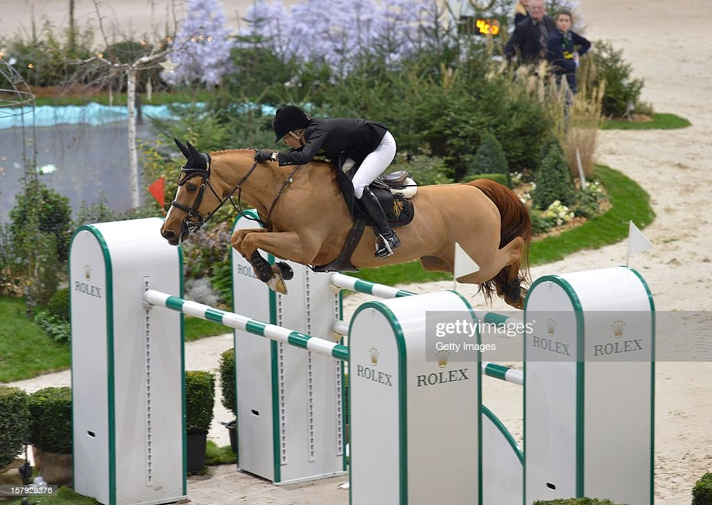 Edwina Tops-Alexander of Australia rides Cevo Itot du Chateau to second place in the Rolex IJRC Top Ten at Palexpo on December 7, 2012 in Geneva, Switzerland.