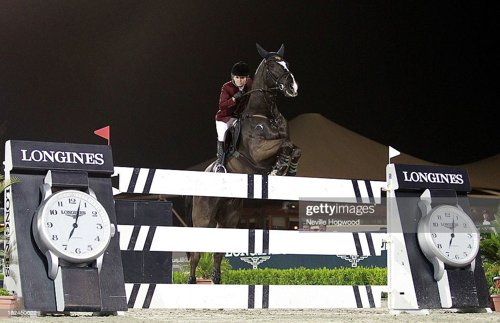 Edwina Tops-Alexander of Australia rides Ego Van Orti during the President of the UAE Showjumping Cup - Furusiyyah Nations Cup Series presented by Longines on February 23, 2013 in Al Ain, United Arab Emirates.