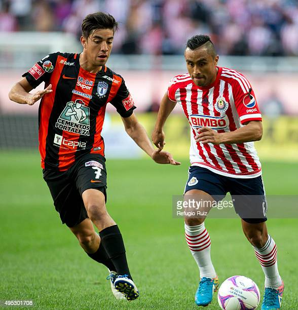Edwuin Hernandez of Chivas fights for the ball with Rodolfo Pizarro of Pachuca during the 15th round match between Chivas and Pachuca as part of the...