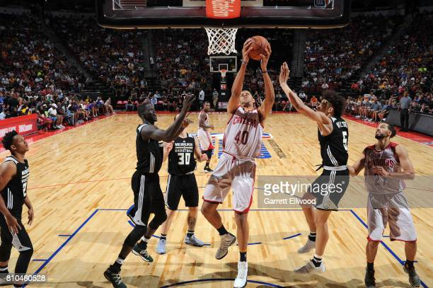 Edy Tavares of the Cleveland Cavaliers goes up for a lay up against the Milwaukee Bucks on July 7 2017 at the Thomas Mack Center in Las Vegas Nevada...
