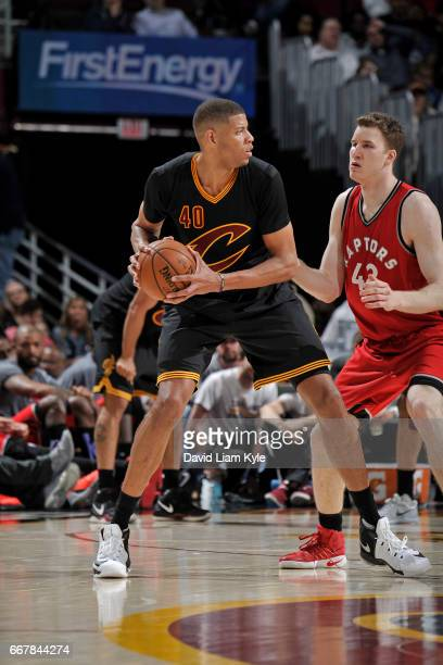 Edy Tavares of the Cleveland Cavaliers looks to drive to the basket against the Toronto Raptors on April 12 2017 at Quicken Loans Arena in Cleveland...