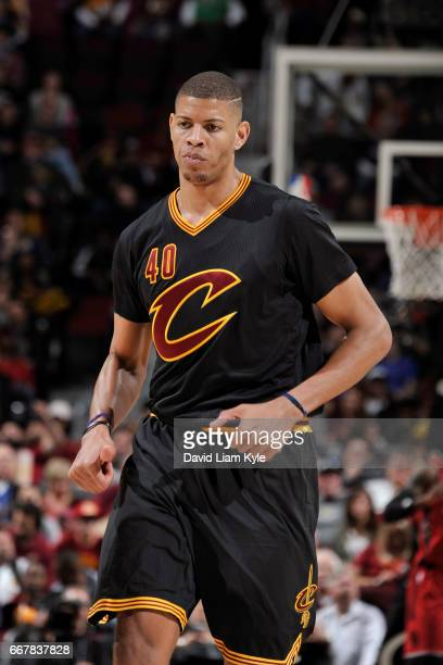 Edy Tavares of the Cleveland Cavaliers runs up court during the game against the Toronto Raptors on April 12 2017 at Quicken Loans Arena in Cleveland...