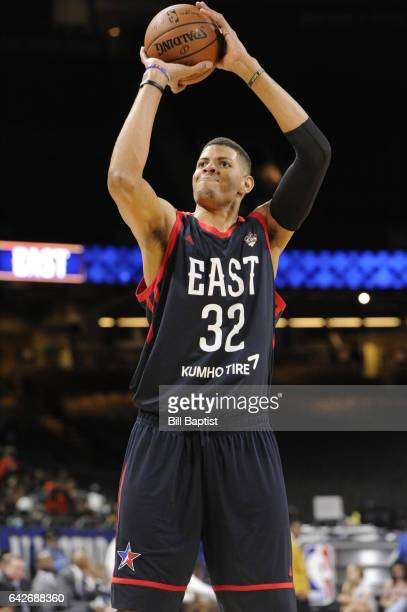 Edy Tavares of the East Team shoots the ball against the West Team during the 2017 NBA DLeague AllStar Game Presented By Kumho Tire as a part of 2017...