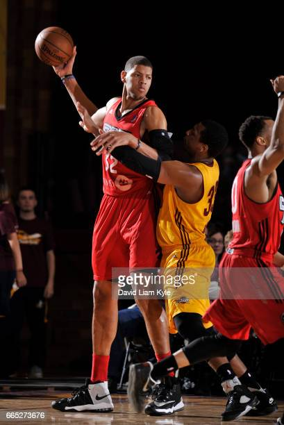 Edy Tavares of the Raptors 905 controls the ball against Jonathan Holmes of the Canton Charge at the Canton Memorial Civic Center on April 5 2017 in...