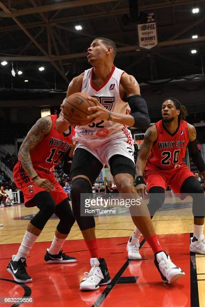Edy Tavares of the Raptors 905 drives to the basket against the Windy City Bulls on March 30 2017 in Mississauga Ontario Canada NOTE TO USER User...