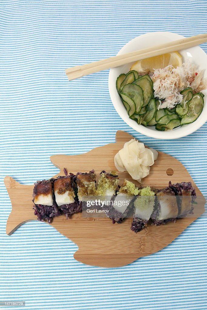 Eel sushi topped with roe : Stock Photo