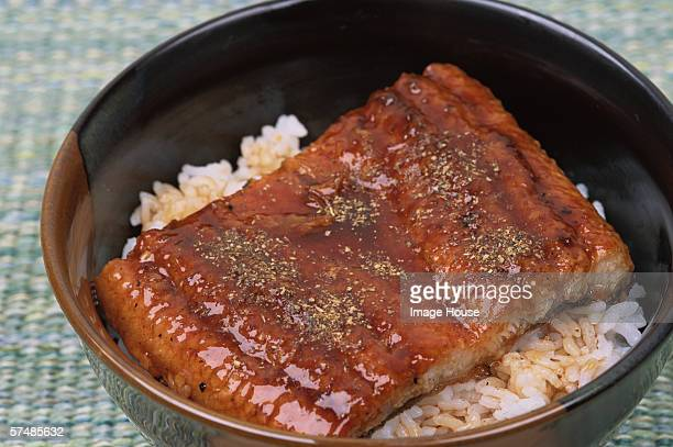 Eel with rice in bowl (Unagi don), close-up