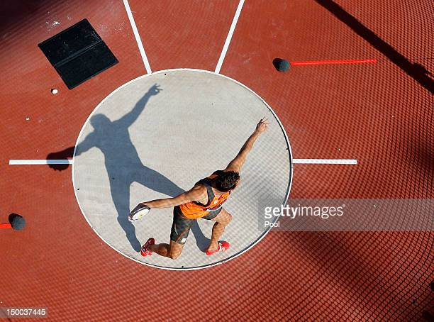 Eelco Sintnicolaas of Netherland competes during the Men's Decathlon Discus Throw on Day 13 of the London 2012 Olympic Games at Olympic Stadium on...