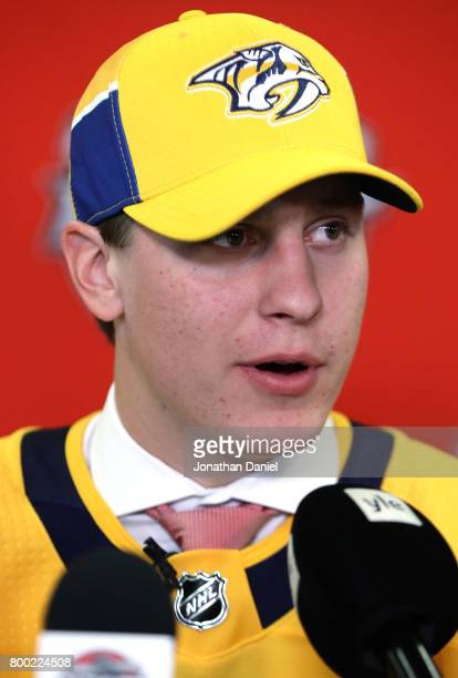 Eeli Tolvanen is interviewed after being selected 30th overall by the Nashville Predators during the 2017 NHL Draft at the United Center on June 23...