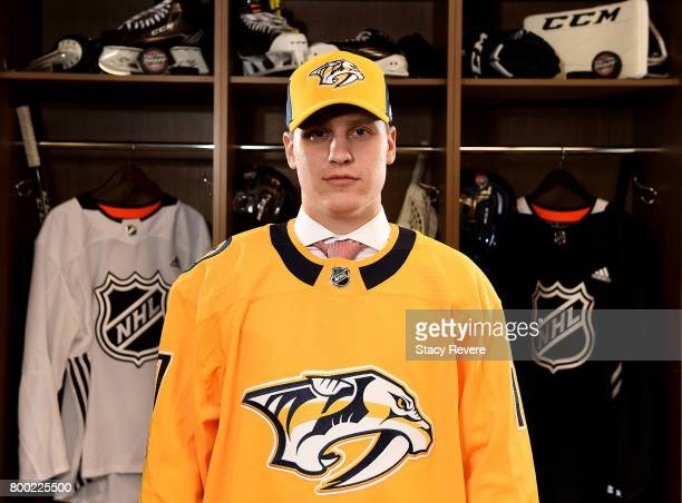 Eeli Tolvanen poses for a portrait after being selected 30th overall by the Nashville Predators during the 2017 NHL Draft at the United Center on...
