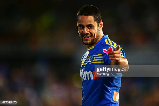 Eels captain Jarryd Hayne speaks to the referee while waiting for the video referees decision on his disallowed try during the round one NRL match...