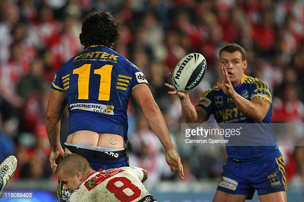 Eels captain Nathan Hindmarsh loses his shorts in a tackle during the round 13 NRL match between the Parramatta Eels and the St George Illawarra...