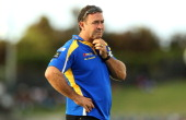Eels Coach Ricky Stuart looks on during the NRL trial match between the Wests Tigers and the Parramatta Eels at Campbelltown Sports Stadium on...