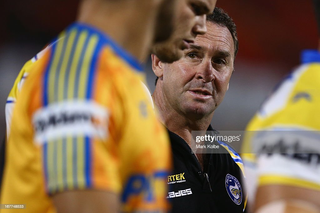Eels coach Ricky Stuart speaks to his players during warm up before the round seven NRL match between the Penrith Panthers and the Parramatta Eels at Centrebet Stadium on April 29, 2013 in Penrith, Australia.