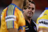 Eels coach Ricky Stuart speaks to his players during warm up before the round seven NRL match between the Penrith Panthers and the Parramatta Eels at...