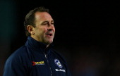 Eels coach Ricky Stuart talks talks to his players during the round 17 NRL match between the Manly Sea Eagles and the Parramatta Eels at Brookvale...