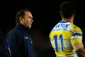 Eels coach Ricky Stuart talks with Reni Maitua during the round 17 NRL match between the Manly Sea Eagles and the Parramatta Eels at Brookvale Oval...