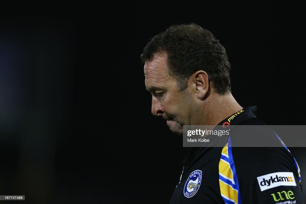 Eels coach <a gi-track='captionPersonalityLinkClicked' href=/galleries/search?phrase=Ricky+Stuart&family=editorial&specificpeople=208798 ng-click='$event.stopPropagation()'>Ricky Stuart</a> walks onto the field during warm up before the round seven NRL match between the Penrith Panthers and the Parramatta Eels at Centrebet Stadium on April 29, 2013 in Penrith, Australia.