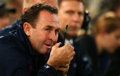 Eels coach Ricky Stuart watches on from the side line during the round 13 NRL match between the Parramatta Eels and the Sydney Roosters at Parramatta...