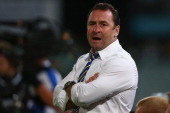 Eels coach Ricky Stuart watches on from the sideline during the round eight NRL match between the Parramatta Eels and the North Queensland Cowboys at...