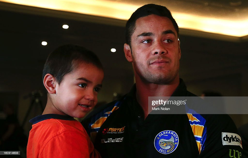 Eels Co-captain Jarryd Hayne holds his younger brother Julius Hayne after the Parramatta Eels NRL captaincy announcement at Parramatta Stadium on February 22, 2013 in Sydney, Australia.